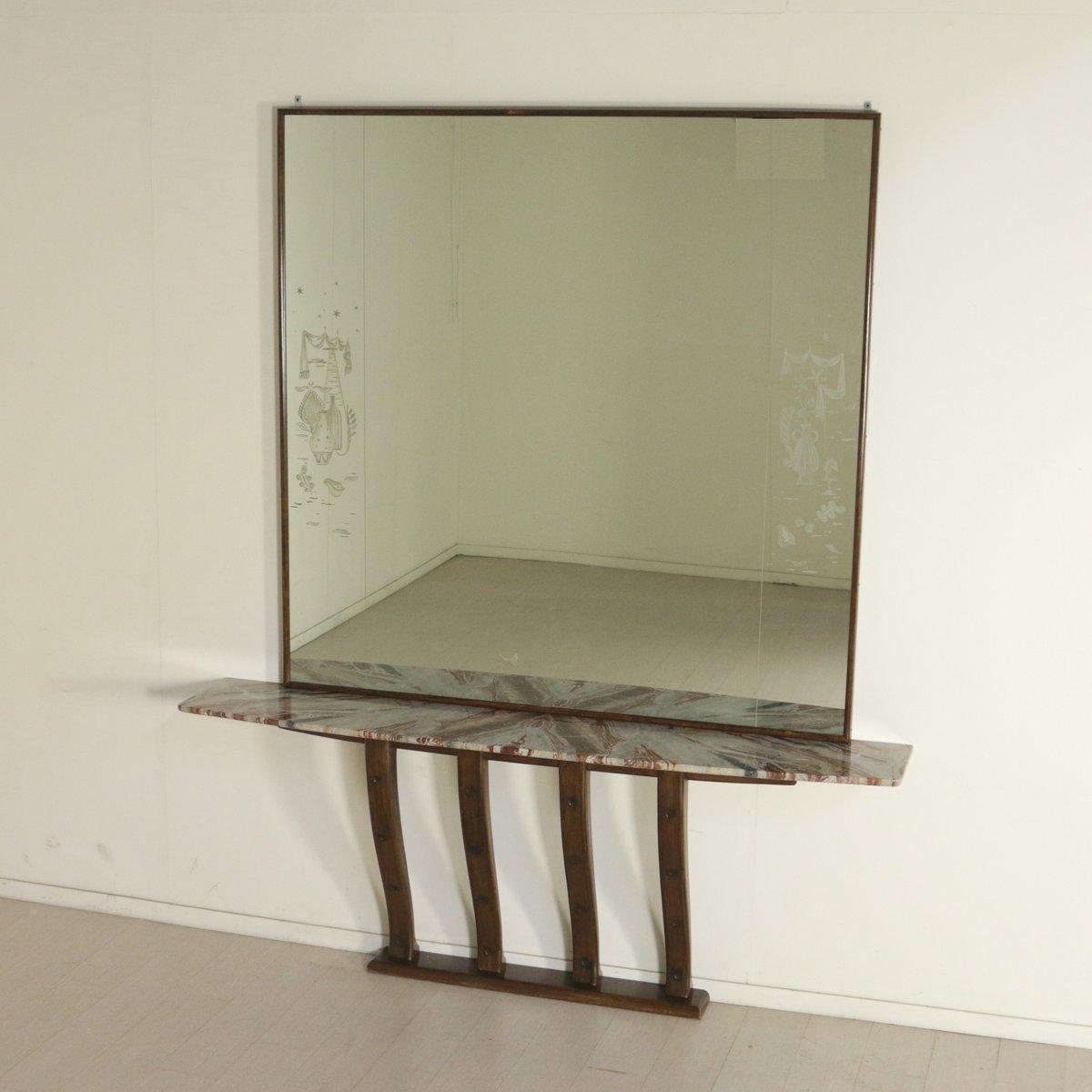 italienische vintage anrichte mit dekoriertem spiegel aus buche marmor bei pamono kaufen. Black Bedroom Furniture Sets. Home Design Ideas