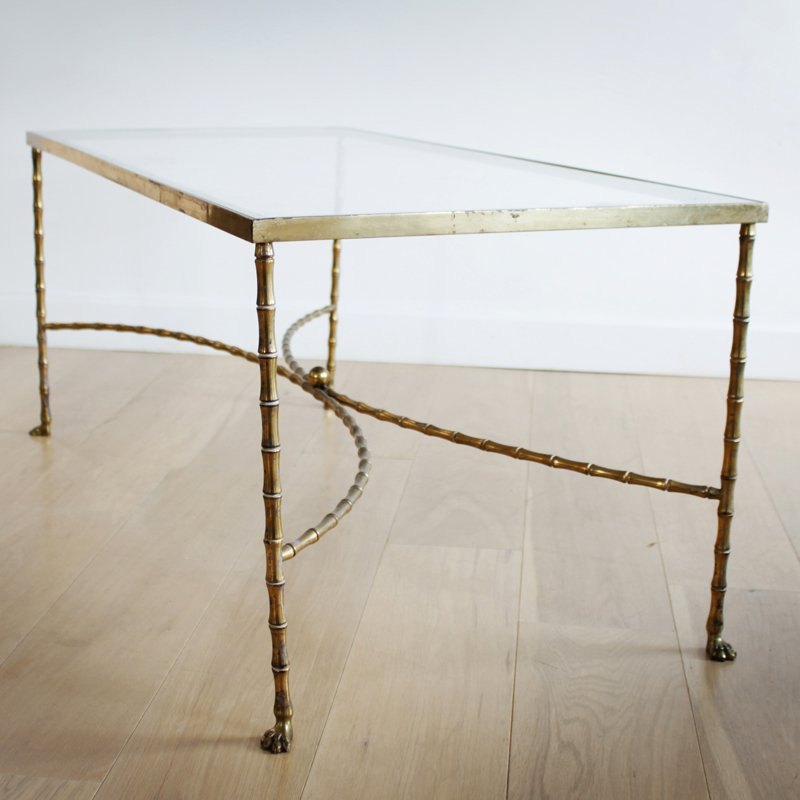 French Faux Bamboo Brass Cocktail Table From Maison Bagues, 1950s