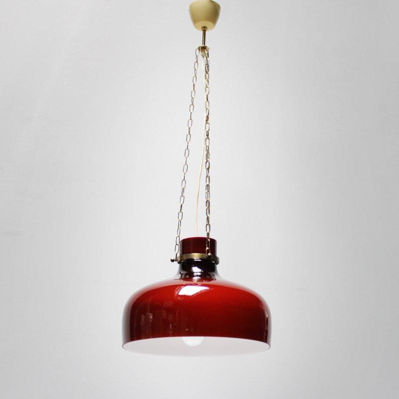 Rote Vintage Hängelampe von Holmegaard