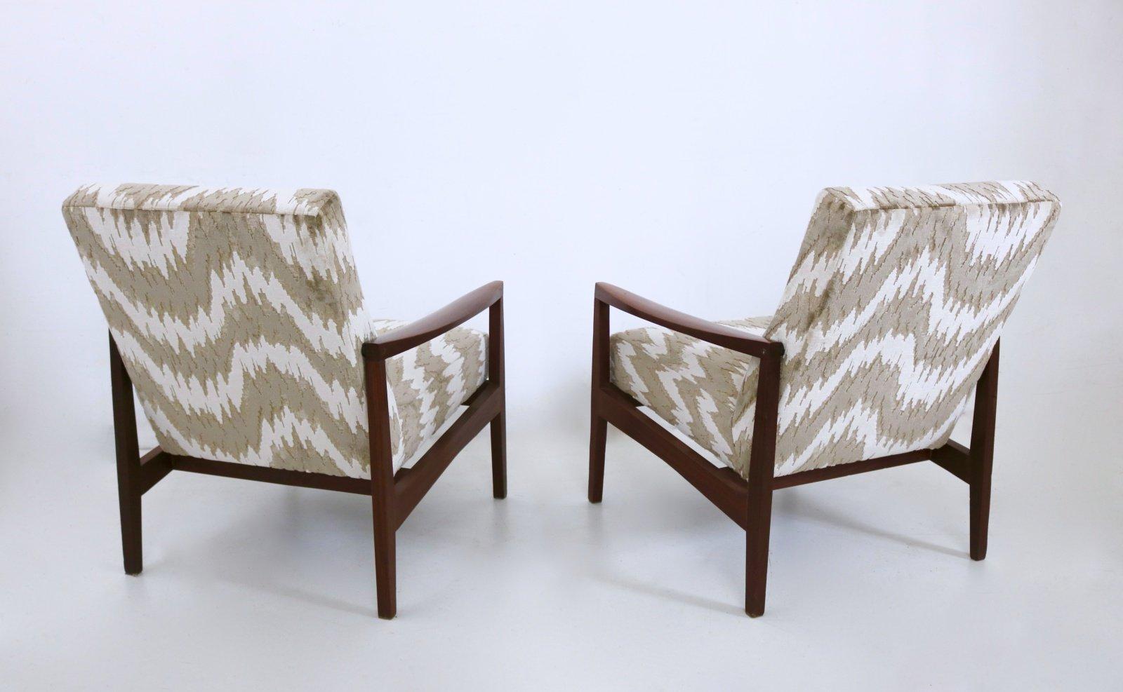 italienische sessel mit gemustertem stoffbezug 1950er. Black Bedroom Furniture Sets. Home Design Ideas