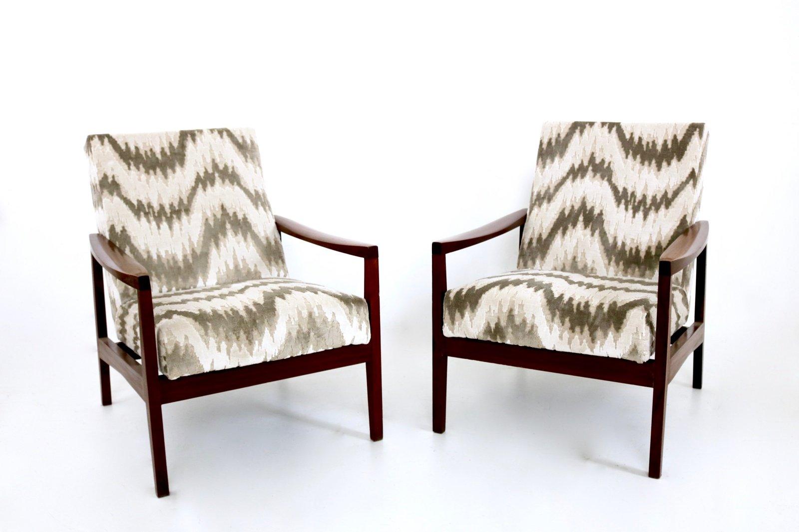 Italienische Sessel mit Gemustertem Stoffbezug, 1950er, 2er Set