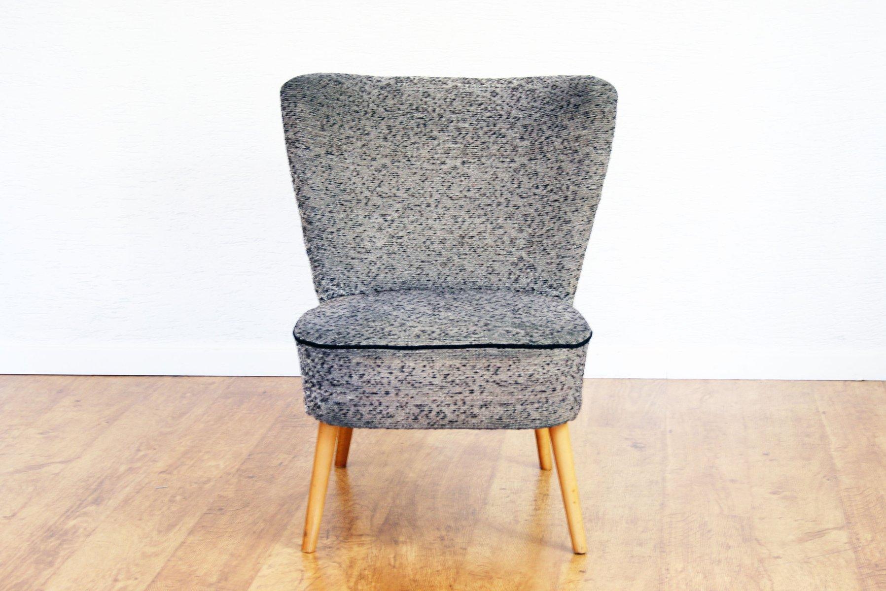 Vintage Cocktail Sessel mit Grauem Stoffbezug