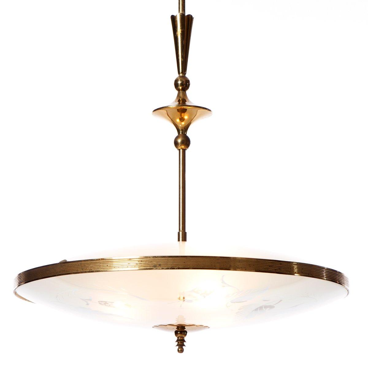 suspension trois lampes en verre et laiton 1940s en vente sur pamono. Black Bedroom Furniture Sets. Home Design Ideas