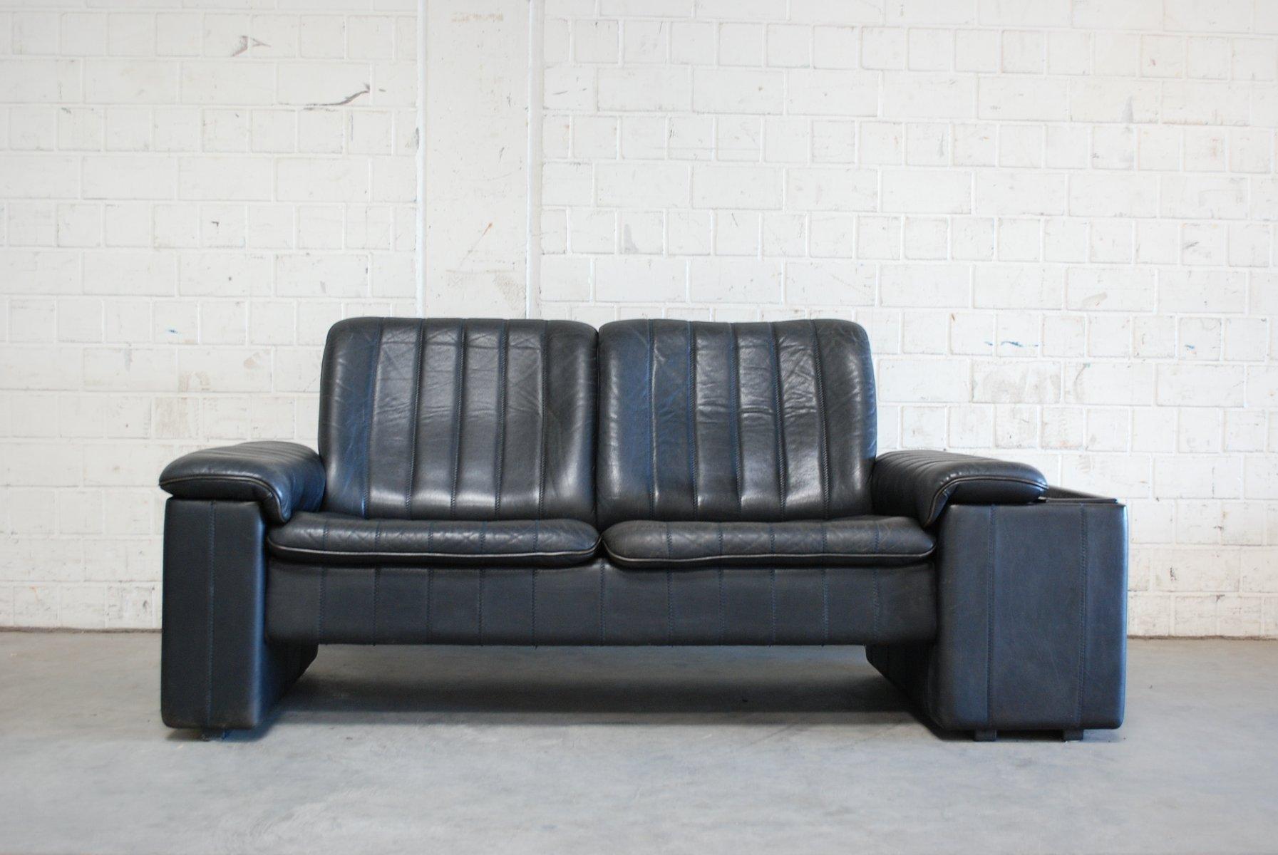 Anthrazitfarbenes Vintage Zwei-Sitzer Ledersofa von de Sede