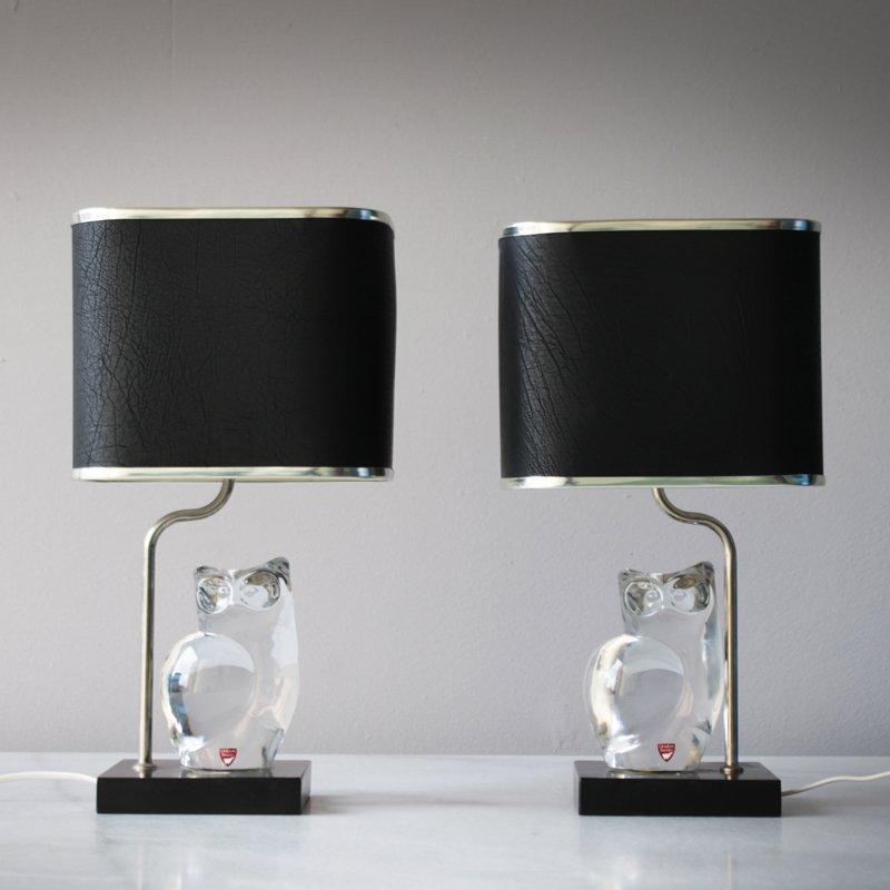 Lampen mit Figuren aus Kristallglas von Olle Alberius für Orrefors, 19...