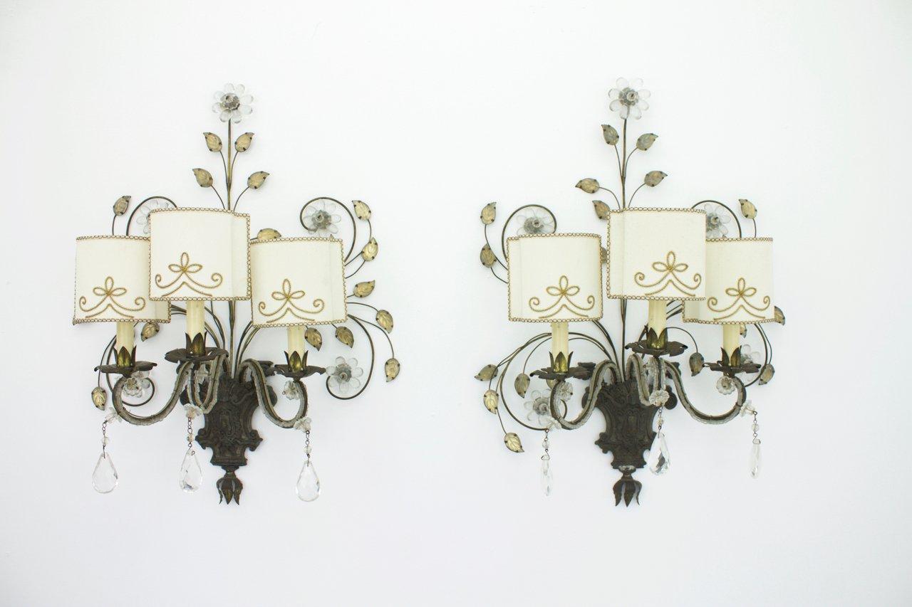 Französische Wandlampen von Maison Bagues, 1940er, 2er Set