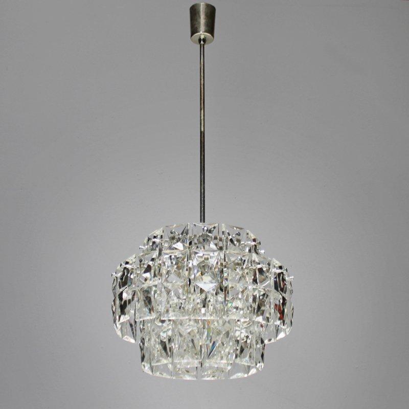 Vernickelter Vintage Kronleuchter mit Rechteckigen Kristallen von Kink...