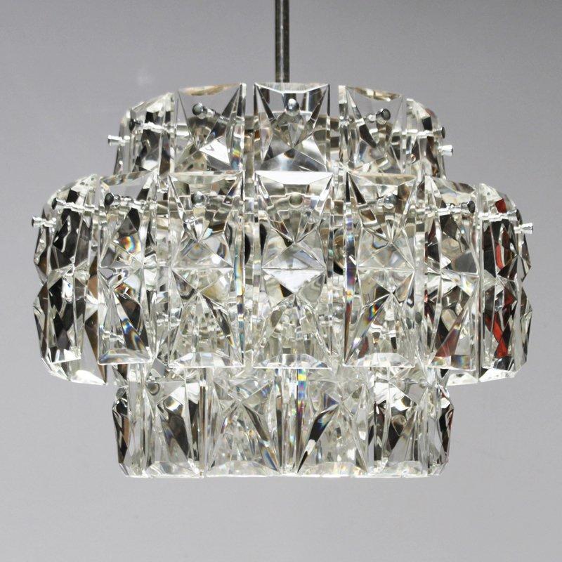 vernickelter vintage kronleuchter mit rechteckigen kristallen von kinkeldey bei pamono kaufen. Black Bedroom Furniture Sets. Home Design Ideas