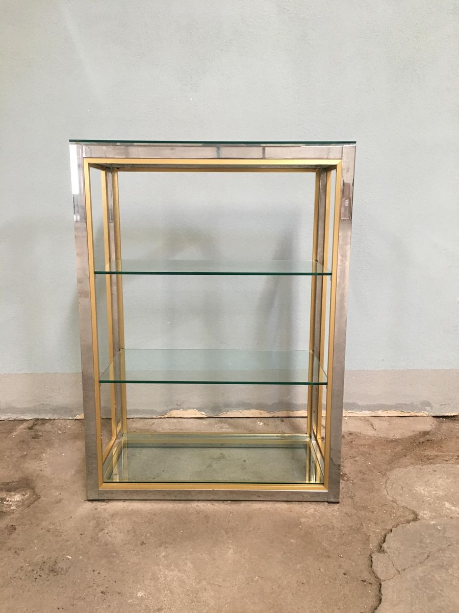 Italian Chrome, Glass, and Brass Shelf by Romeo Rega, 1970s for sale ...