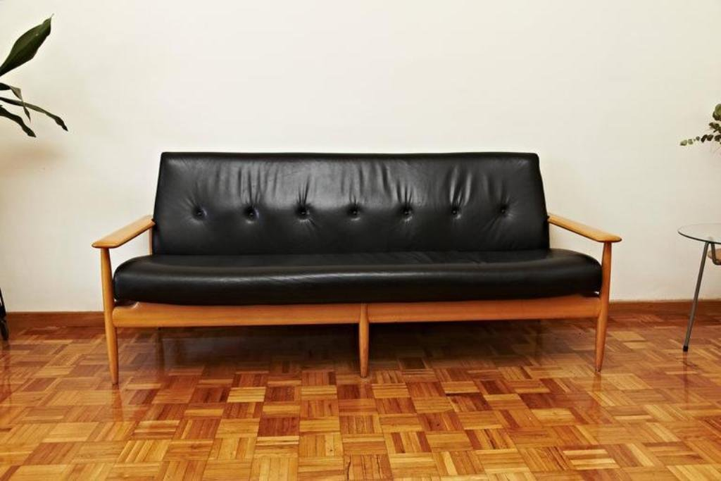 French Leather Sofa 1950s