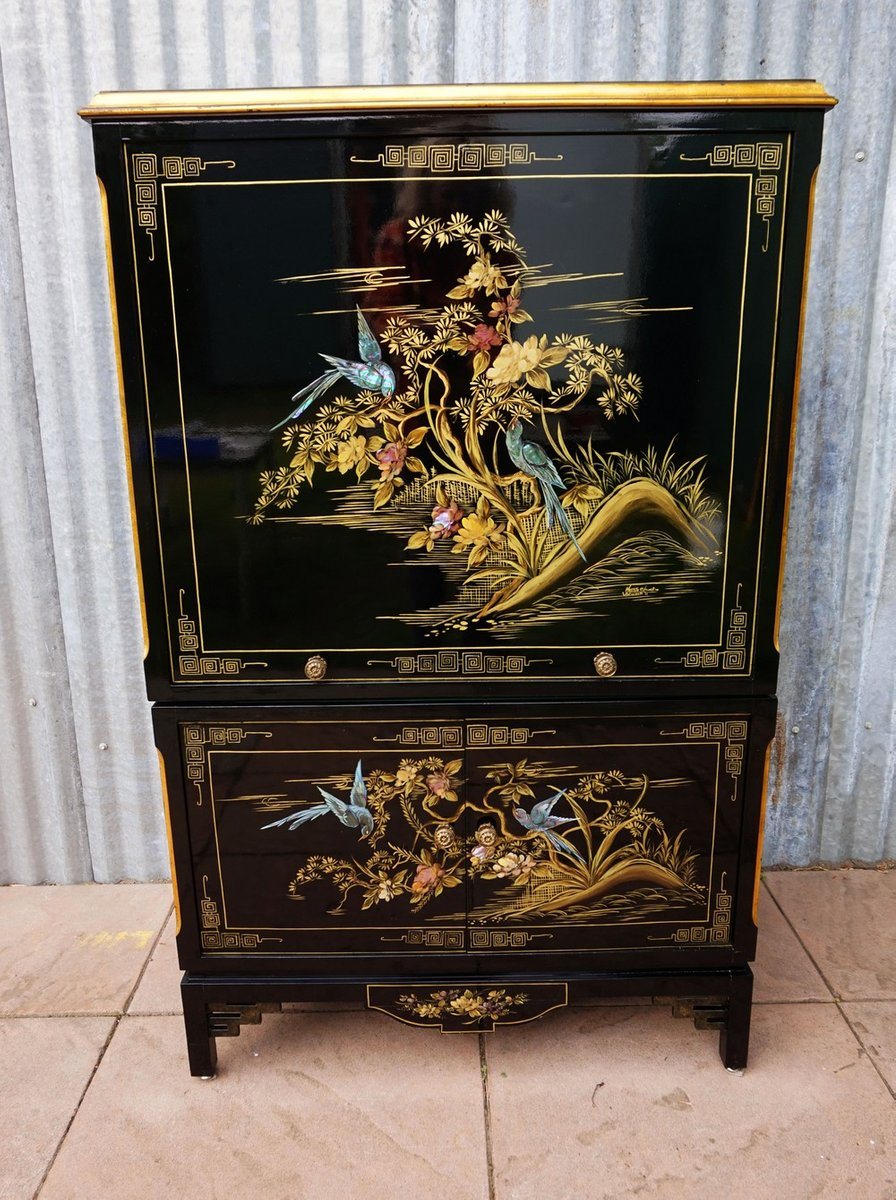 Chinese Hand Painted Black Lacquer Cabinet 1981 For Sale