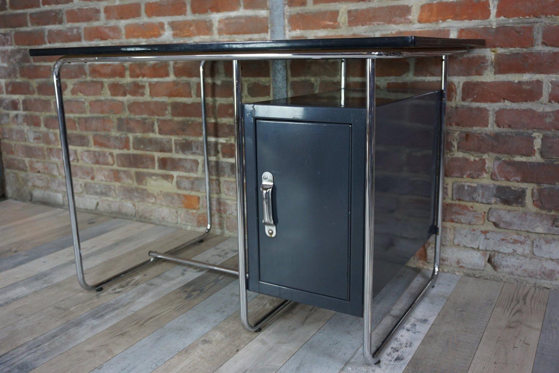 bureau vintage industriel avec plateau en sycomore en vente sur pamono. Black Bedroom Furniture Sets. Home Design Ideas