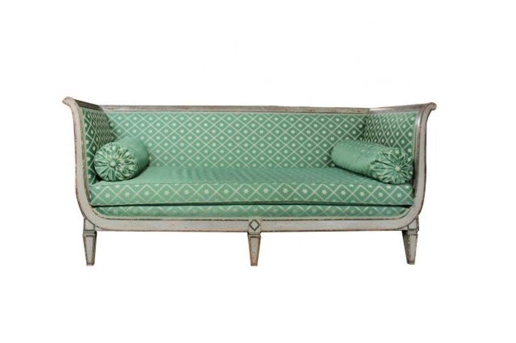 Antique French Empire Sofa With Green Silk Upholstery 8 3 450 00