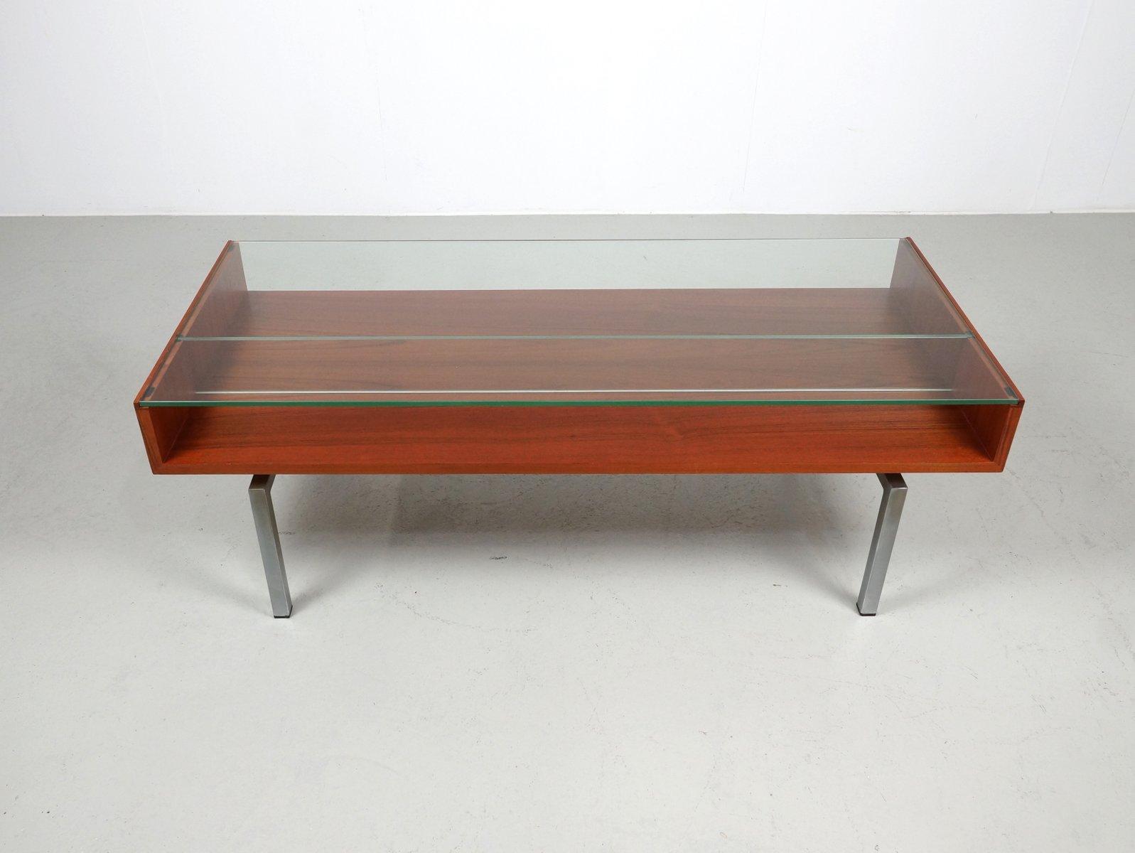 table basse vintage en teck et verre en vente sur pamono. Black Bedroom Furniture Sets. Home Design Ideas