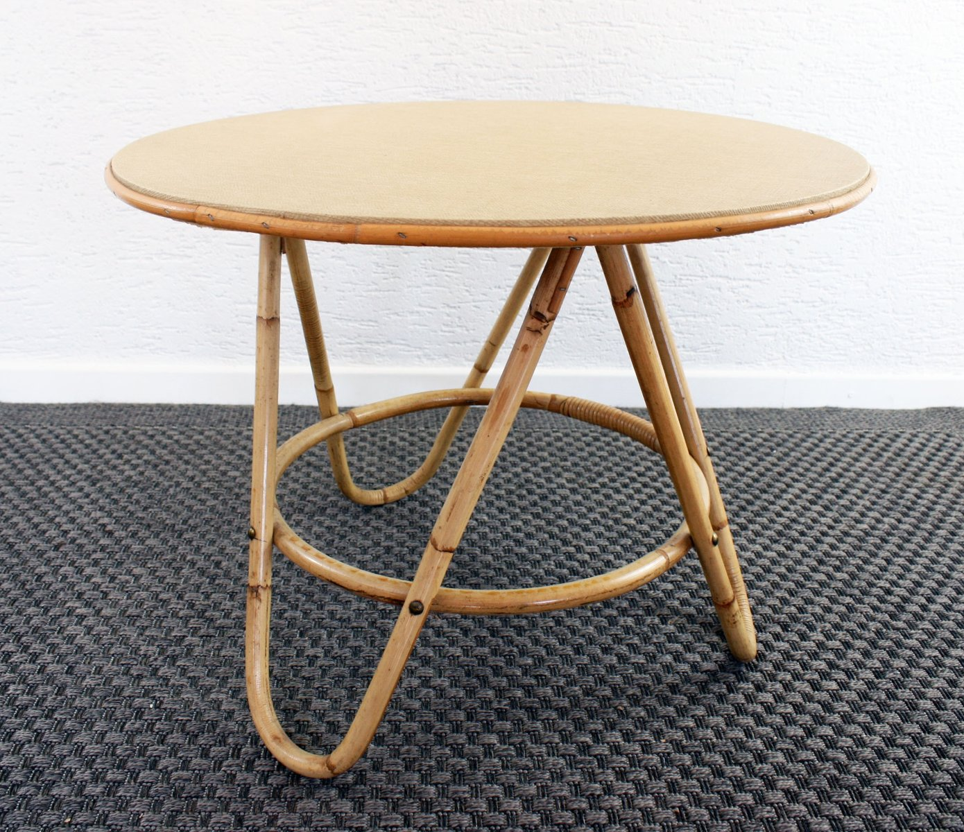 Vintage Casual Coffee Tables: Vintage Round Rattan Coffee Table For Sale At Pamono