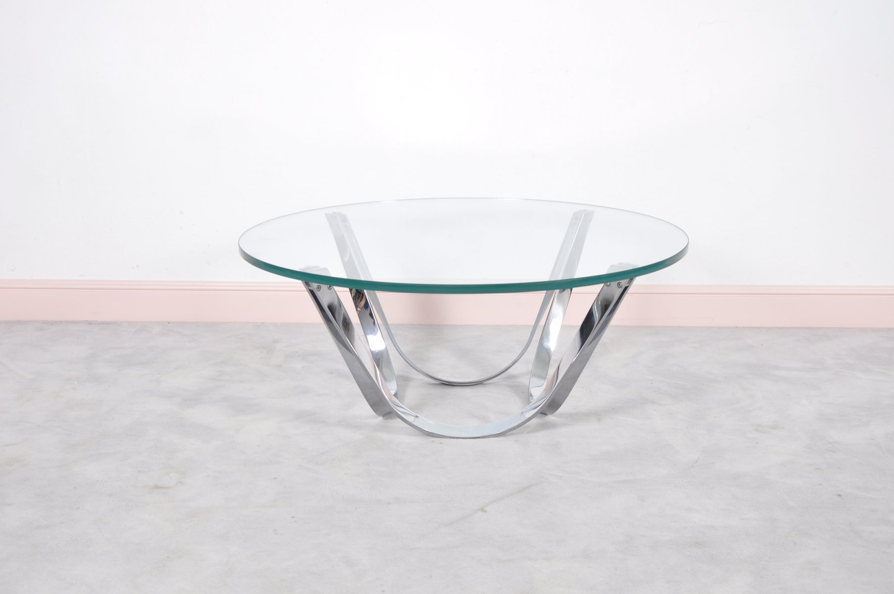 Round Glass Coffee Table By Roger Sprunger For Dunbar 1970s