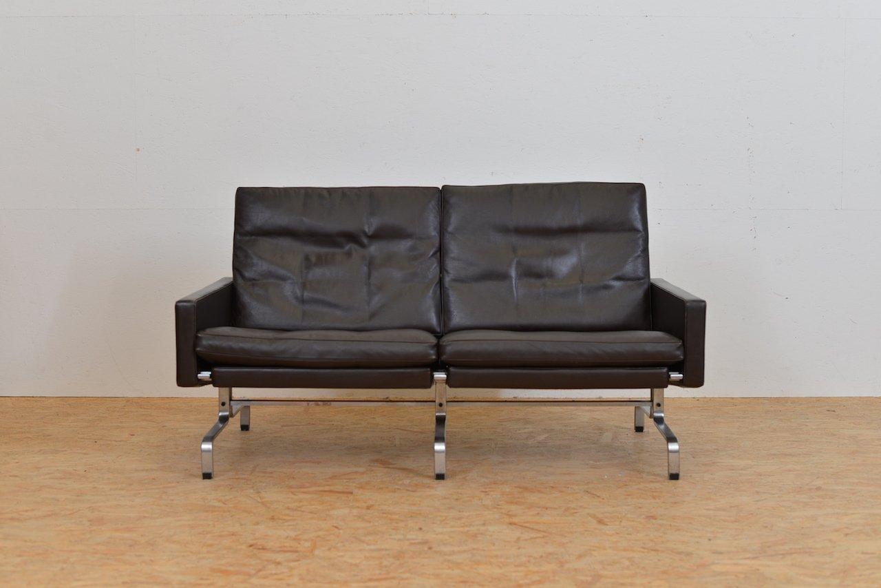 canapé deux places mid-century en cuir par poul kjærholm pour fritz