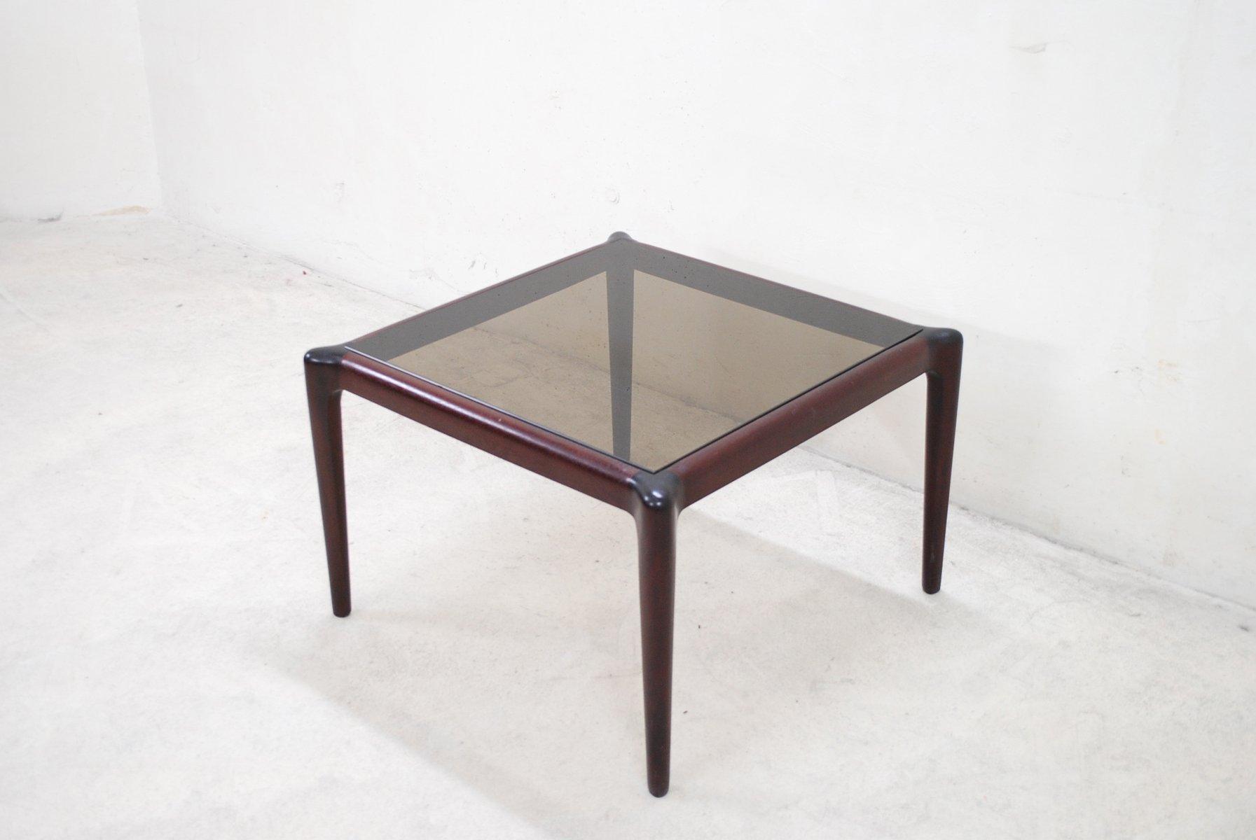 Vintage Mahogony Smoked Glass Coffee Table