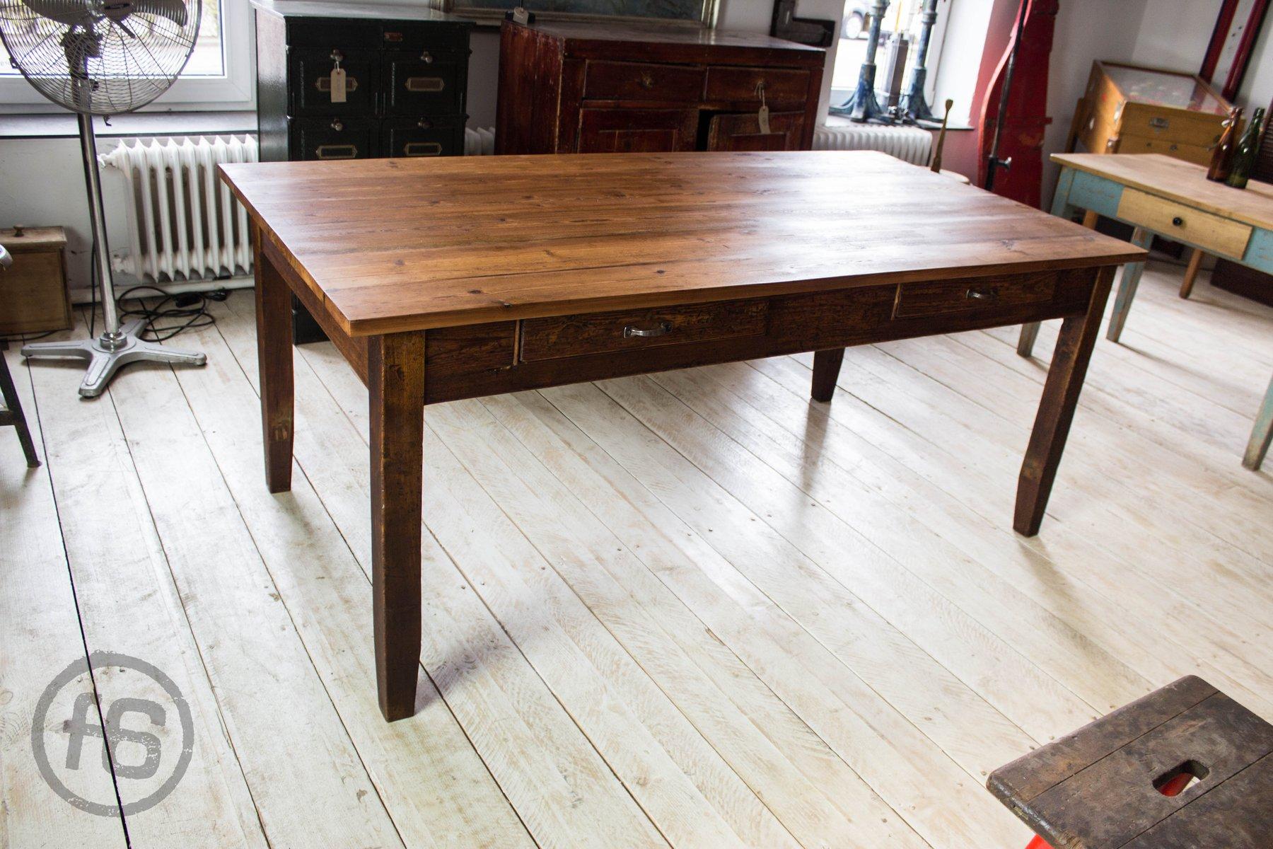 table de salle manger antique en pin en vente sur pamono. Black Bedroom Furniture Sets. Home Design Ideas