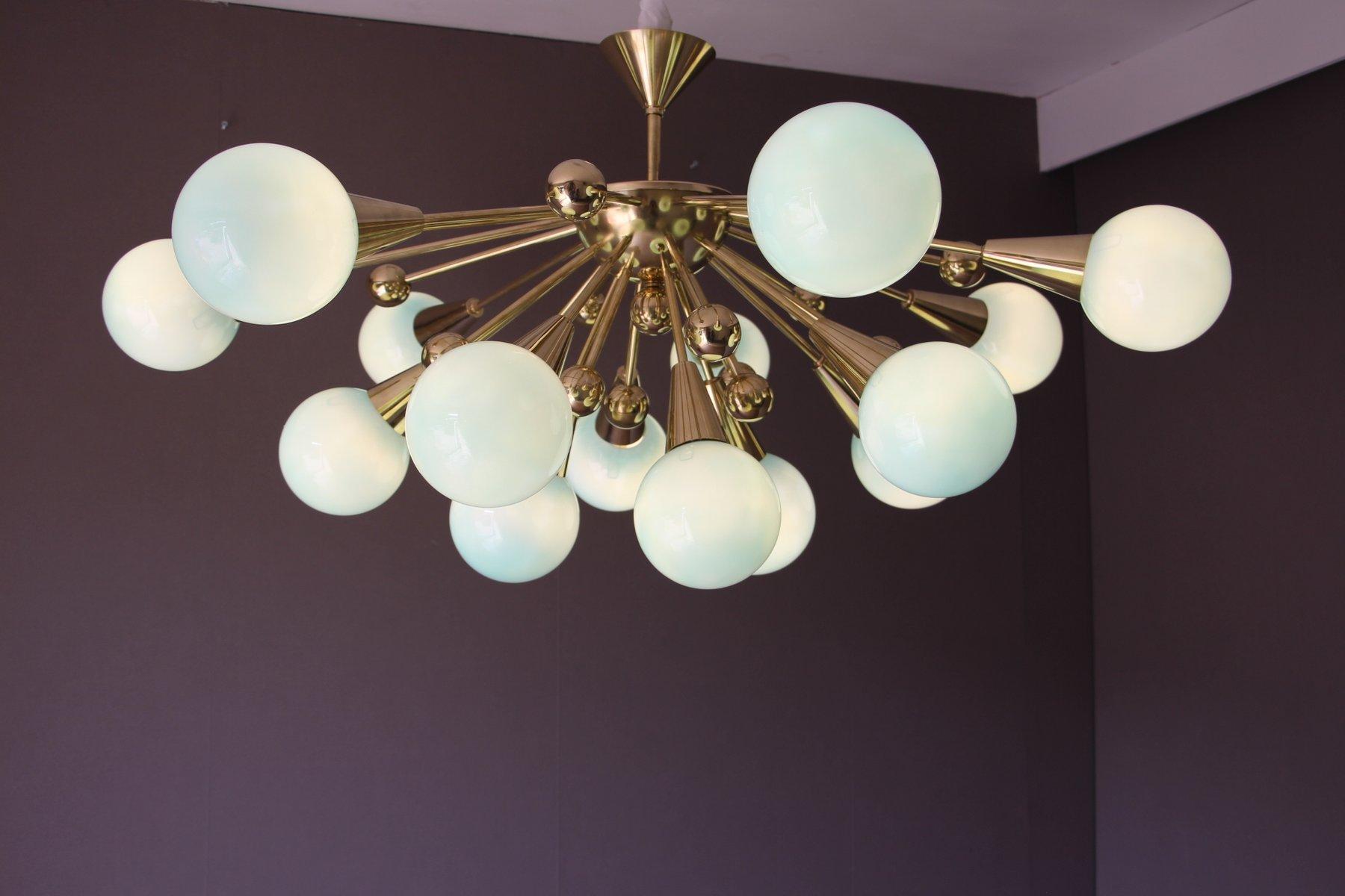 Turquoise Murano Glass Semi Sputnik Ceiling Light 1970s