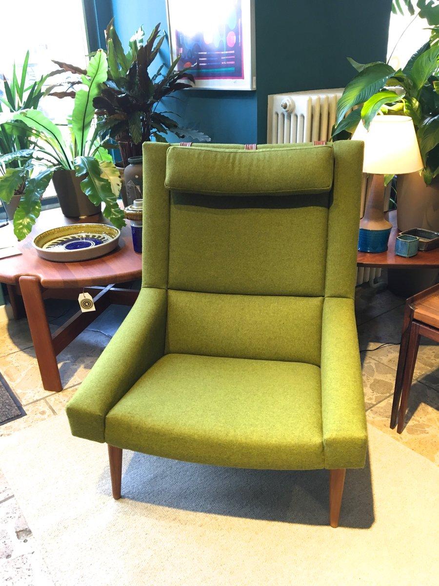 gr ner vintage sessel mit hoher r ckenlehne von illum wikkelso f r soren willadsen bei pamono kaufen. Black Bedroom Furniture Sets. Home Design Ideas