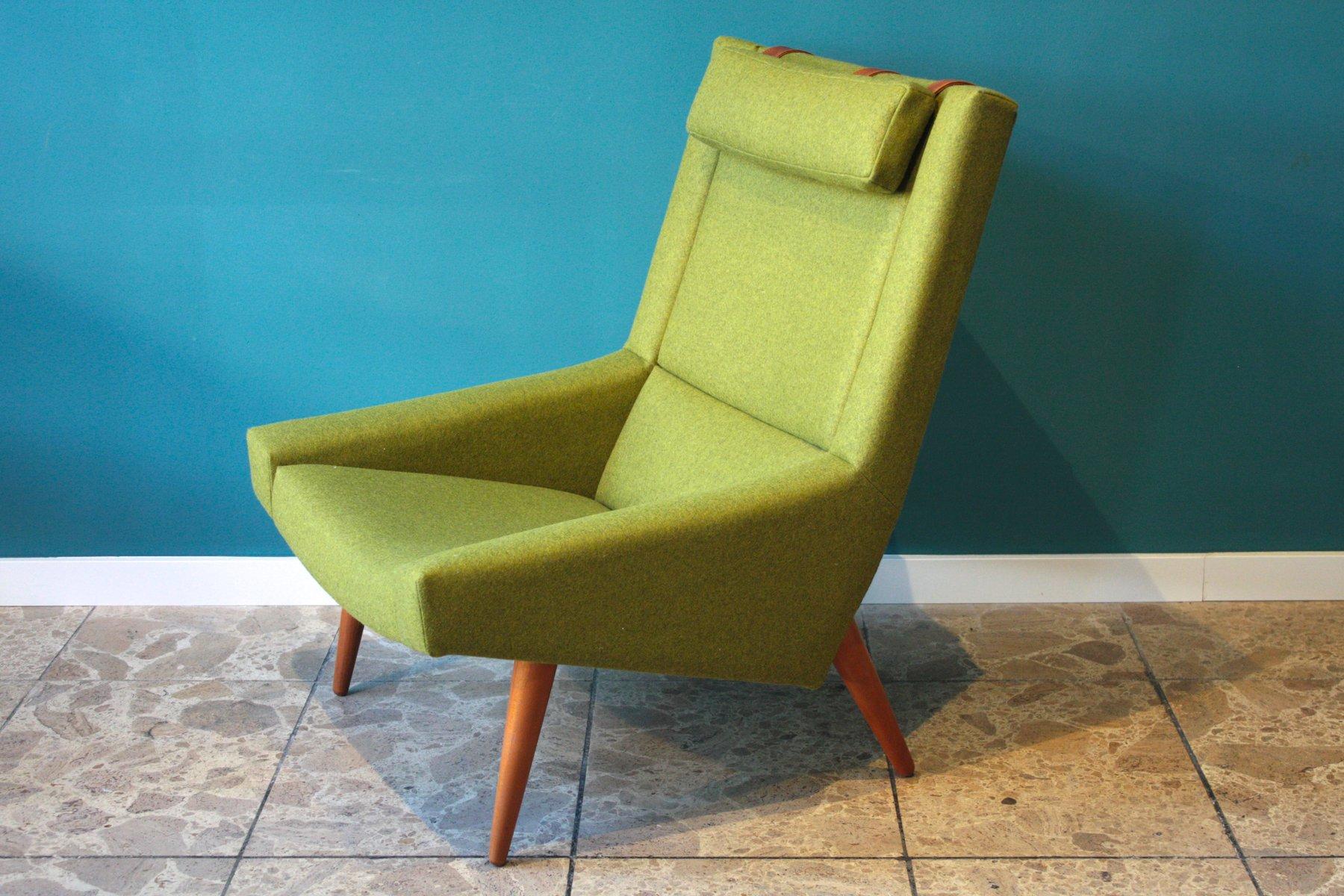 Grüner Vintage Sessel mit Hoher Rückenlehne von Illum Wikkelso für Sor...
