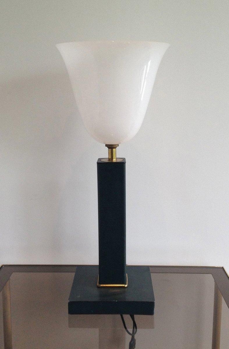 Schreibtischlampe aus Leder & Weißem Kunststoff, 1950er