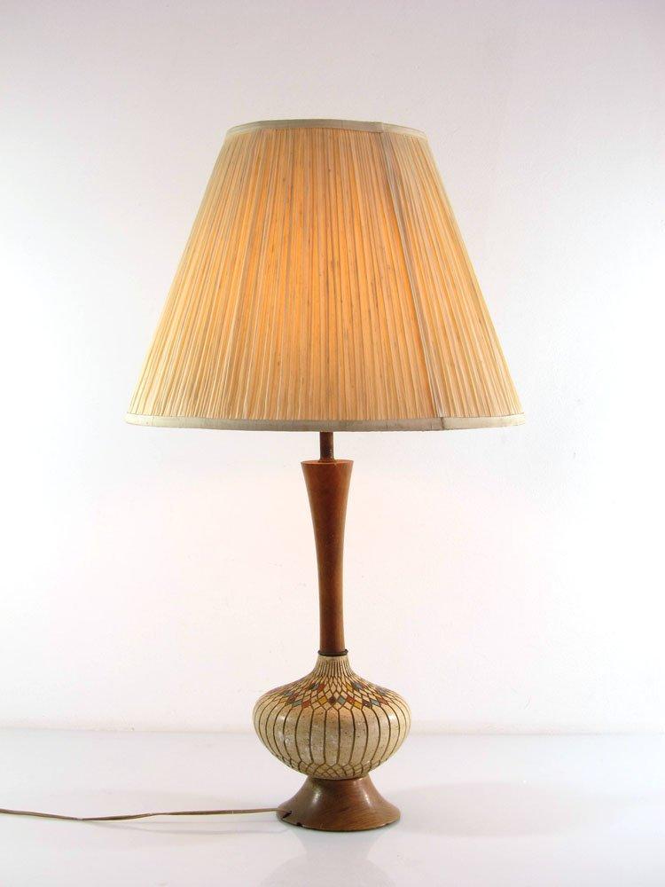 Vintage Tischlampe aus Gips & Holz, 1950er