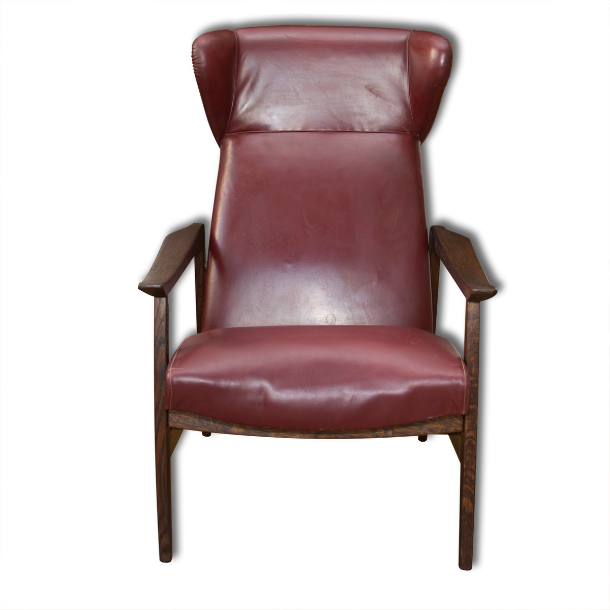 European Leather Adjustable Wingback Chair 1940s For Sale