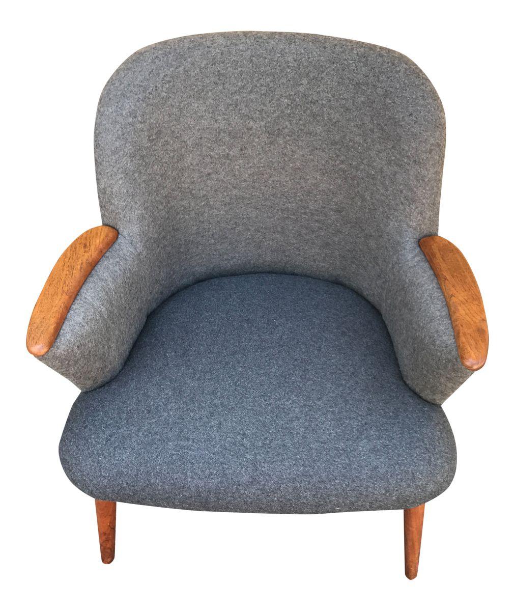 Mid-Century Sessel mit Grauem Wollbezug von Ølholm Møbler