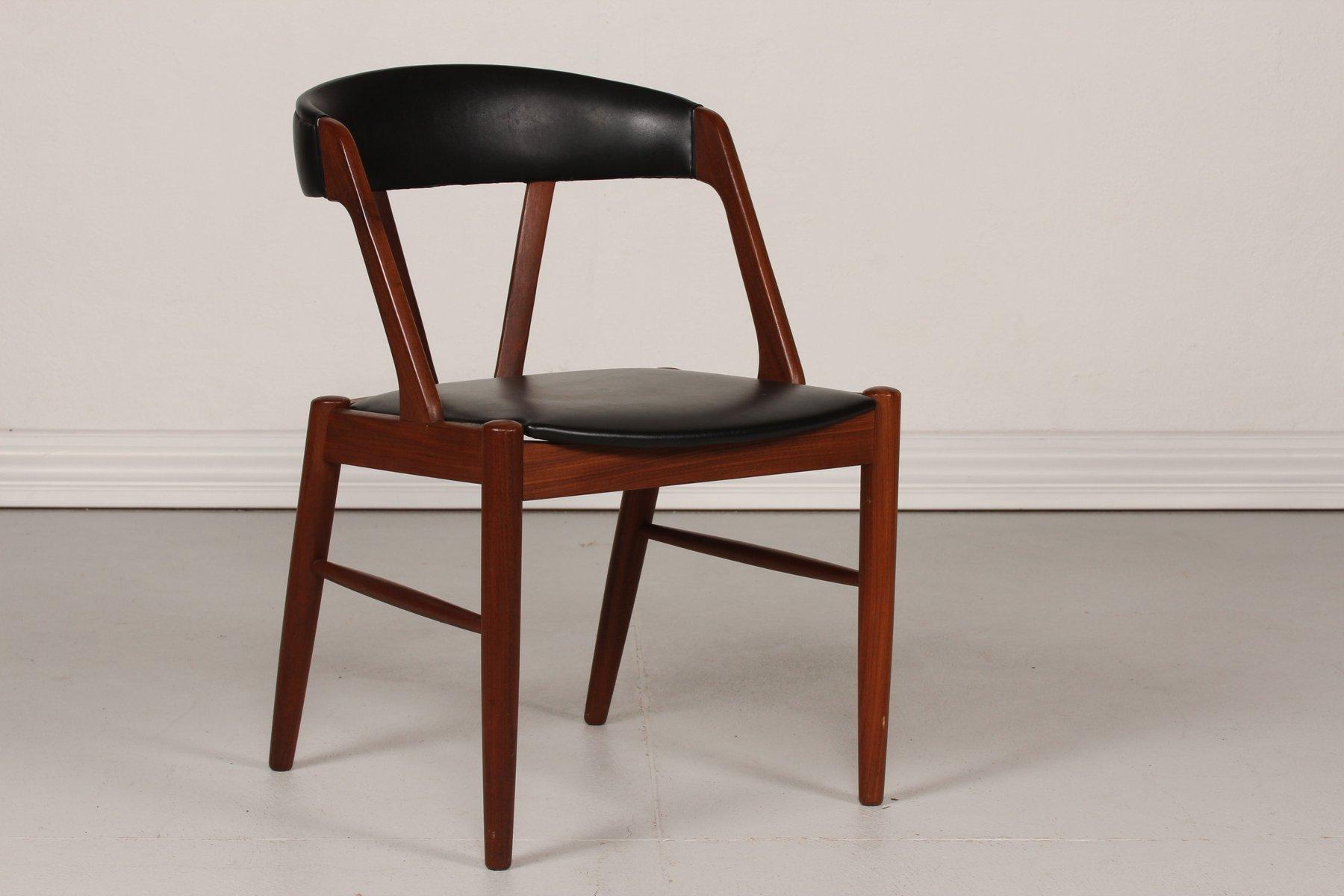 Danish Desk Chair In Teak With Black Skai Seat 1960s