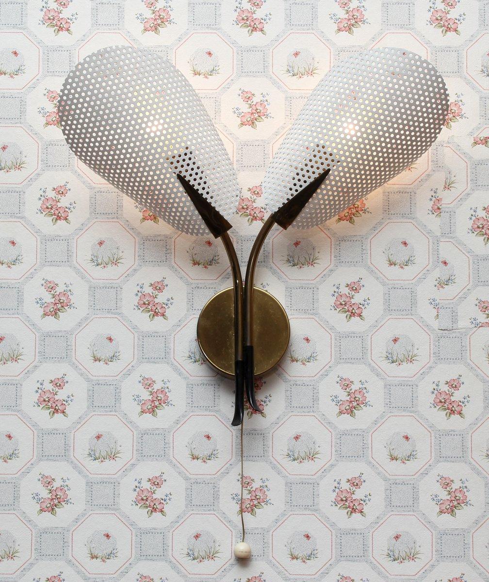 wandlampe mit schirmen aus lochblech 1950er bei pamono kaufen. Black Bedroom Furniture Sets. Home Design Ideas