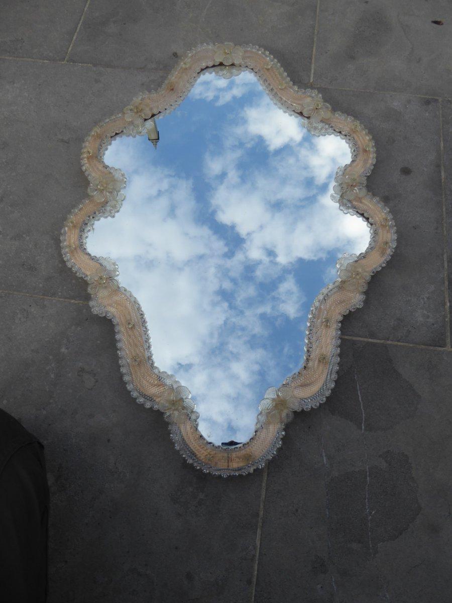 Specchio Veneziano Antico Floreale In Vetro Di Murano In
