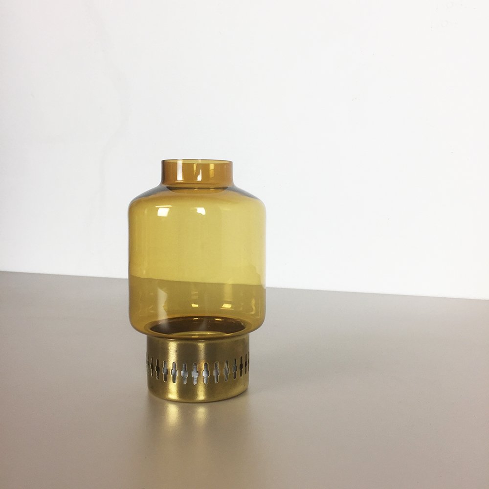 Yellow Glass and Brass Candle Holder by Hans-Agne Jakobsson, 1960s ...