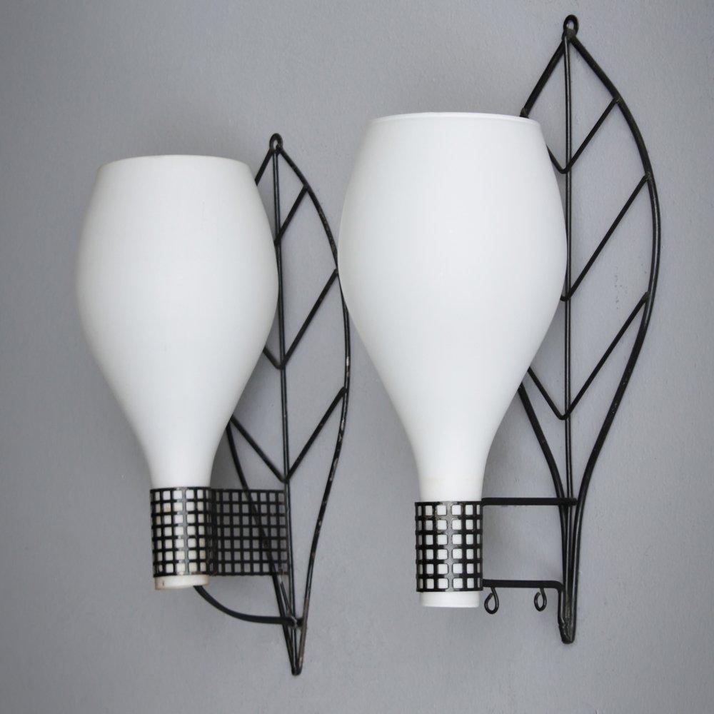 Vintage Wandlampen in Blattform, 2er Set