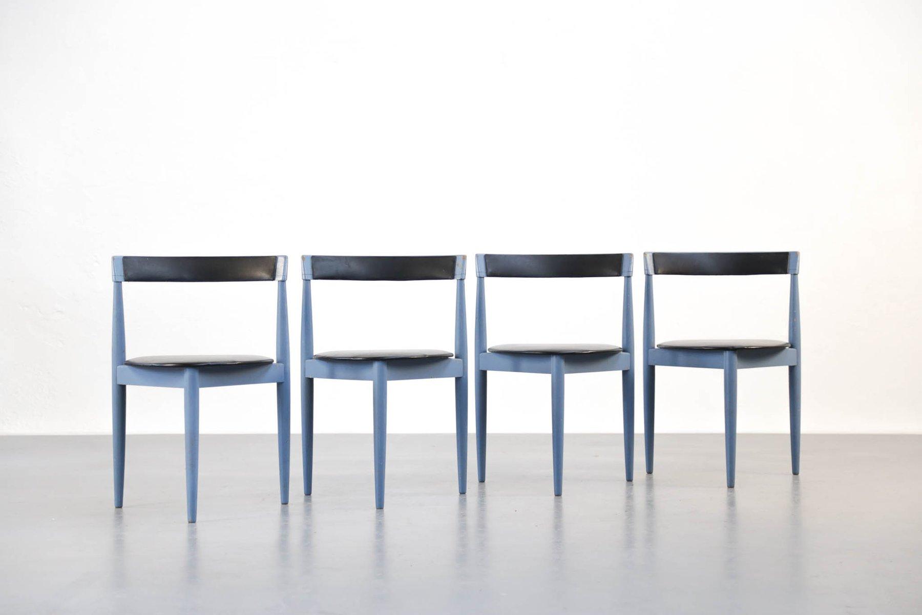 Vintage danish blue dining chairs by hans olsen for frem røjle set of 4