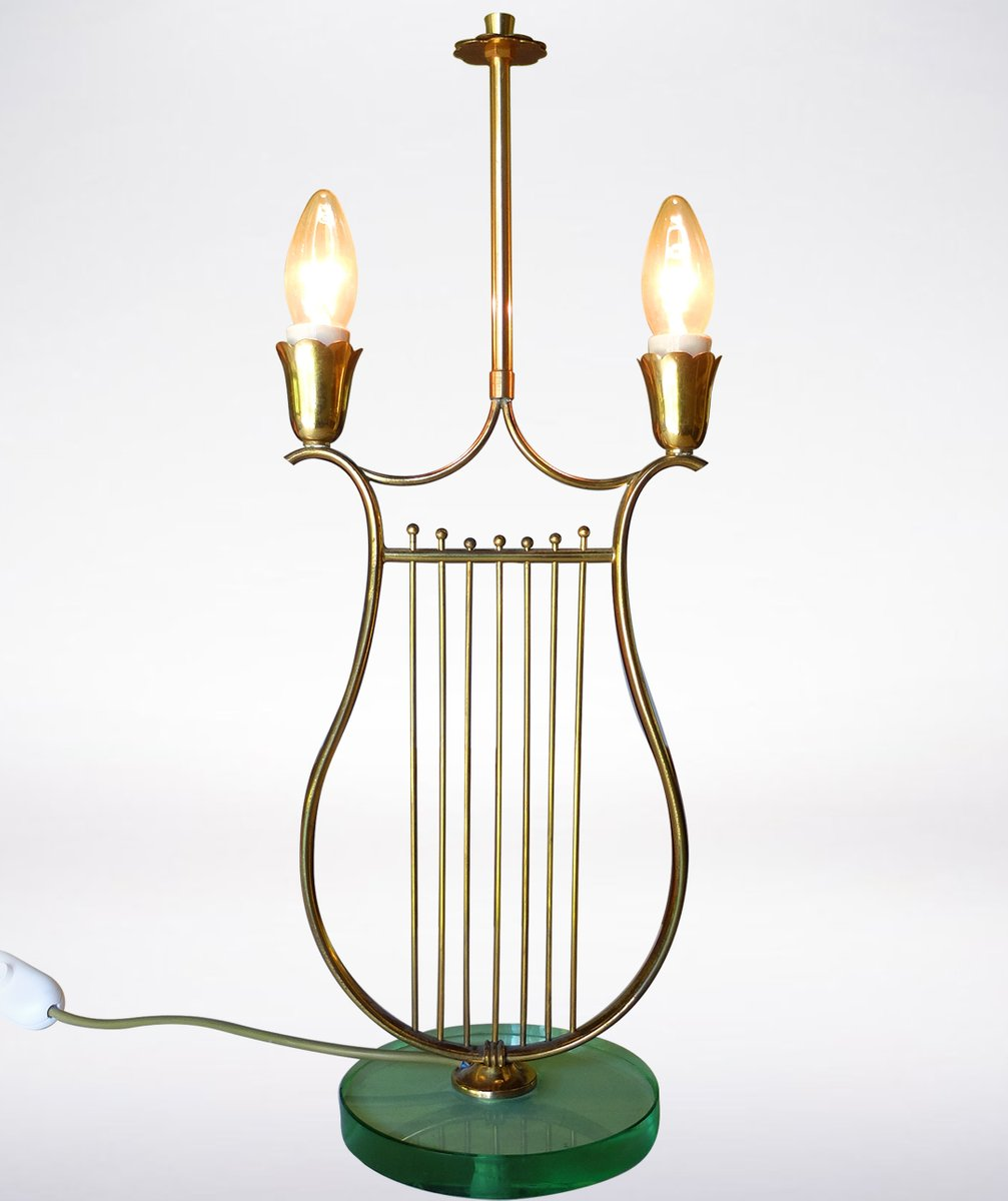 Italian Harp Shaped Brass Table Lamp 1930s For Sale At Pamono