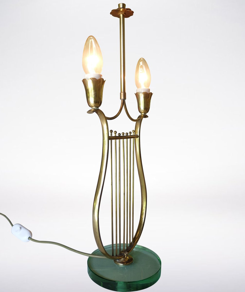 Italian Harp Shaped Brass Table Lamp, 1930s