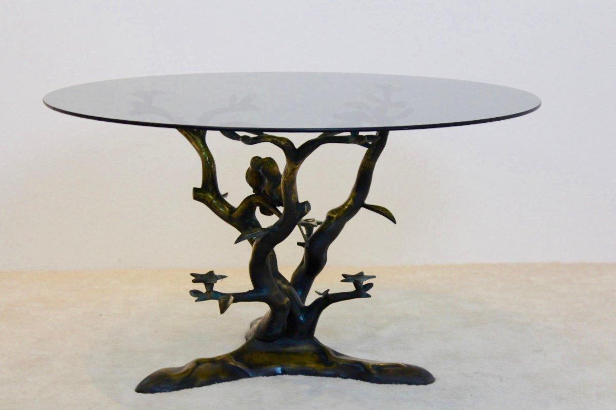 Skulpturaler Vintage Couchtisch aus Messing in Baumform von Willy Daro