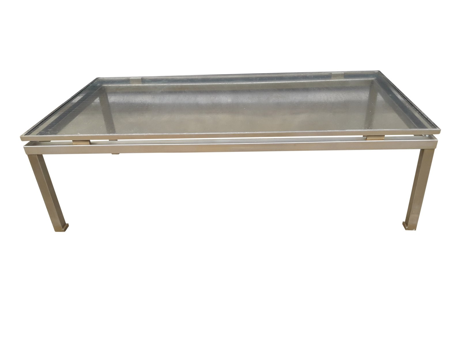 table basse moderniste en acier bross par guy lefevre pour maison jansen en vente sur pamono. Black Bedroom Furniture Sets. Home Design Ideas