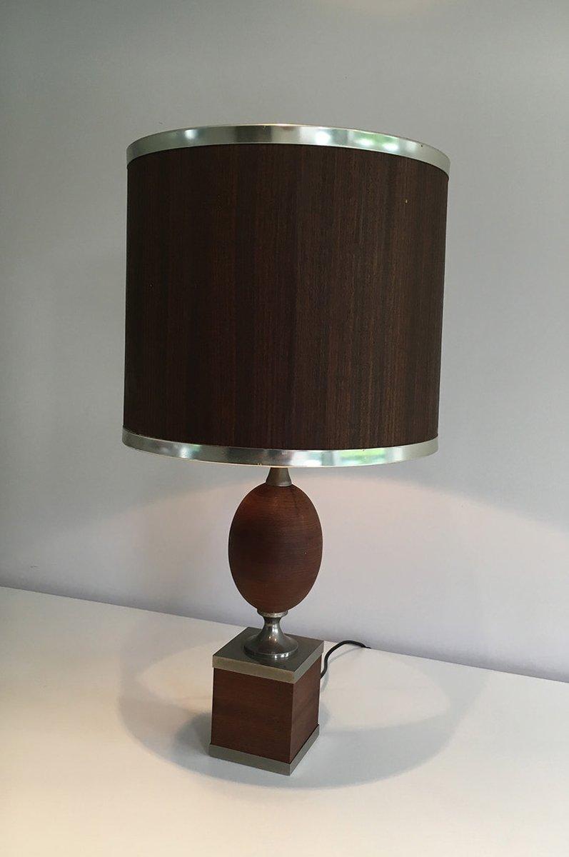 Vintage Tischlampe aus Gebürstetem Stahl und Holz, 1970er
