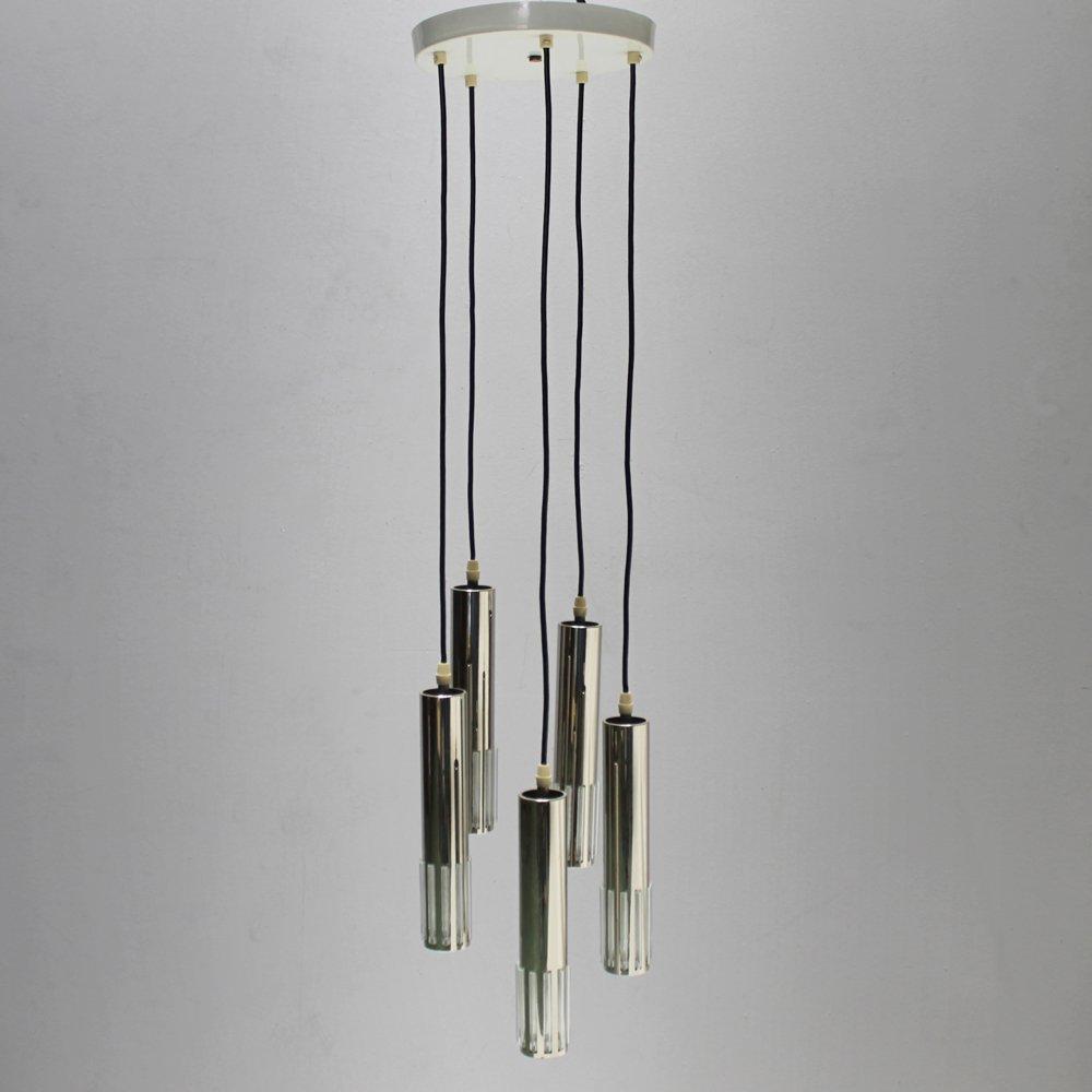 Modernistische Vintage Hängelampe mit Fünf Leuchten