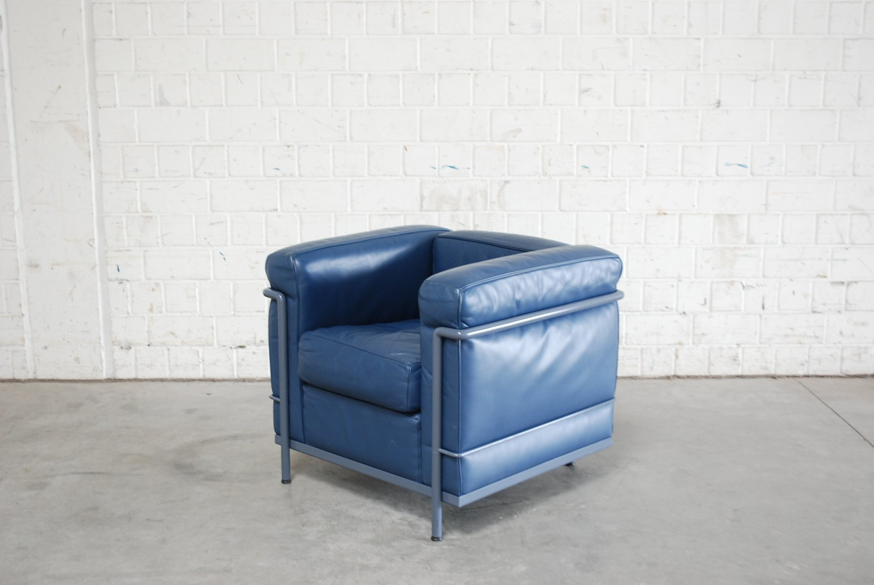 Vintage Blue Model LC2 Leather Chair by Le Corbusier for Cassina & Vintage Blue Model LC2 Leather Chair by Le Corbusier for Cassina for ...