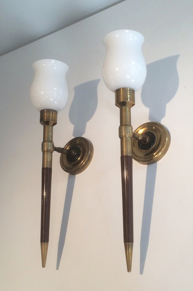 Wandleuchten aus Holz, Messing und Opalglas, 1940er, 2er Set