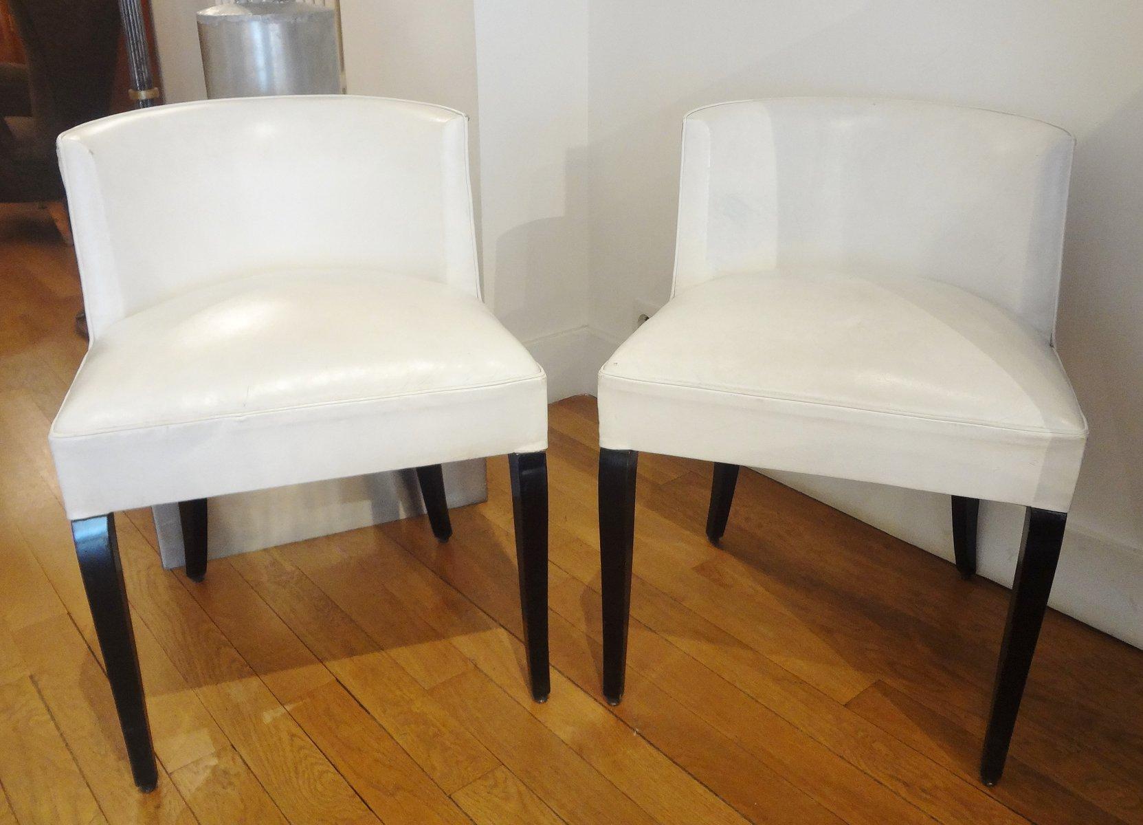 chaises d appoint vintage blanches par jacques adnet 1930s set de 2 en vente sur pamono. Black Bedroom Furniture Sets. Home Design Ideas
