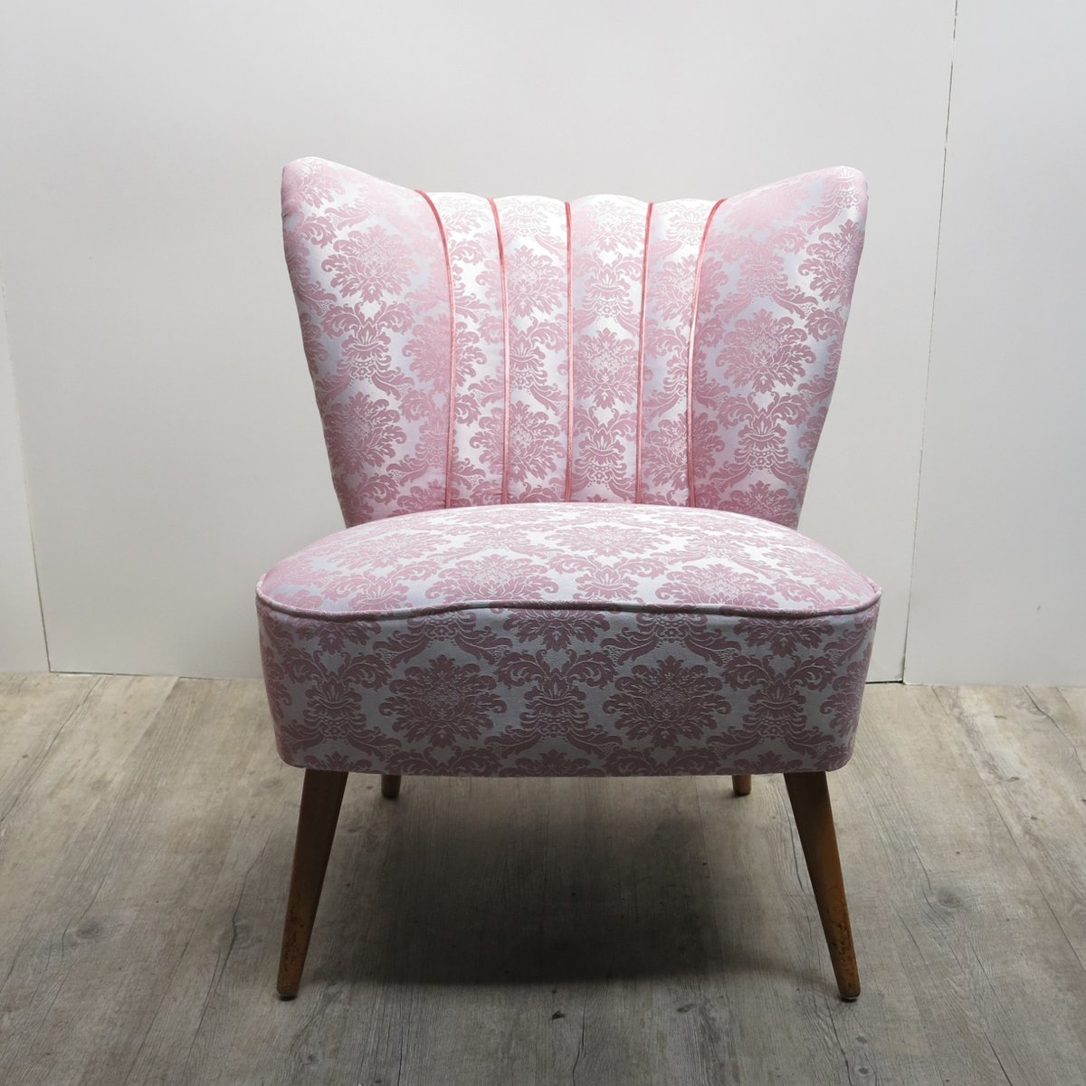 Mid Century Chairs For Sale: Mid-Century Pink Cocktail Chair With Wooden Legs For Sale