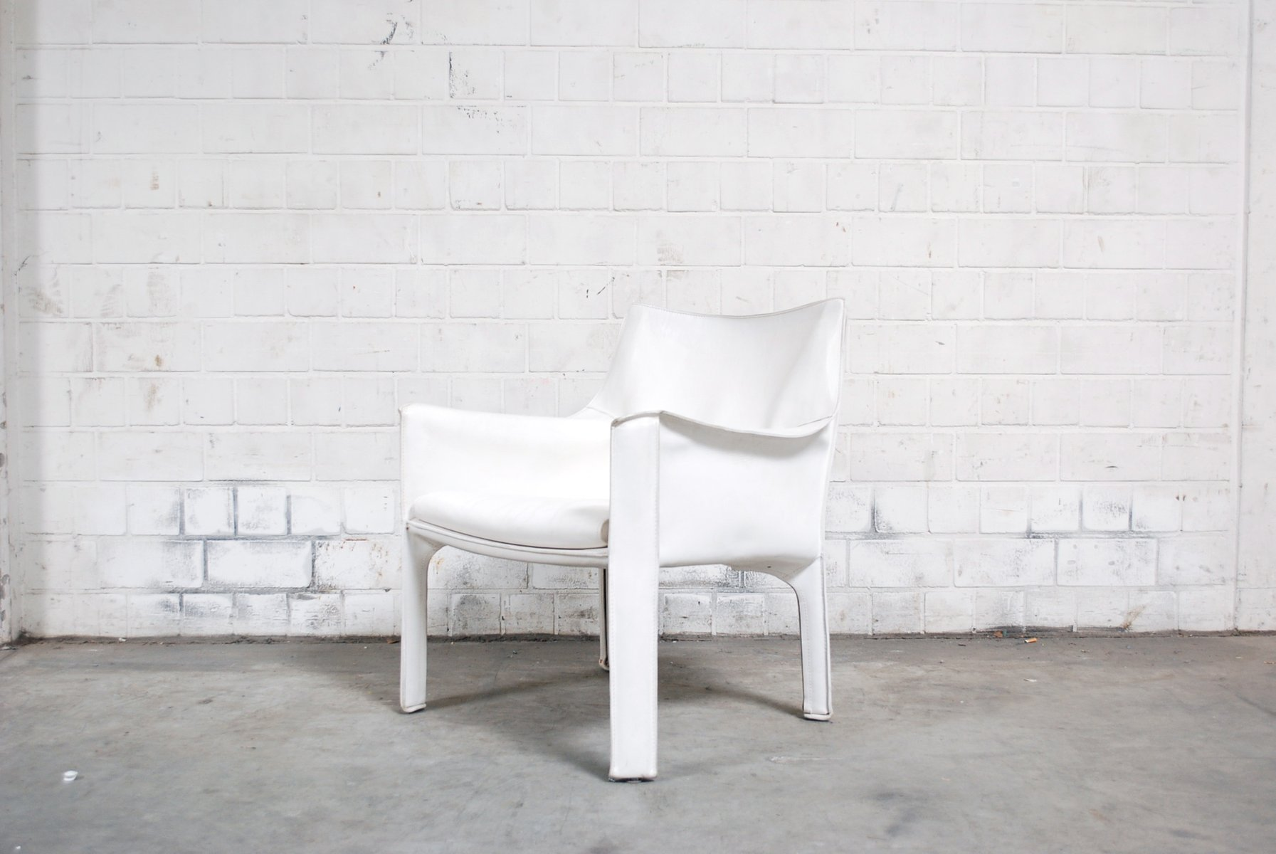 Vintage White Cab 414 Lounge Chair By Mario Bellini For