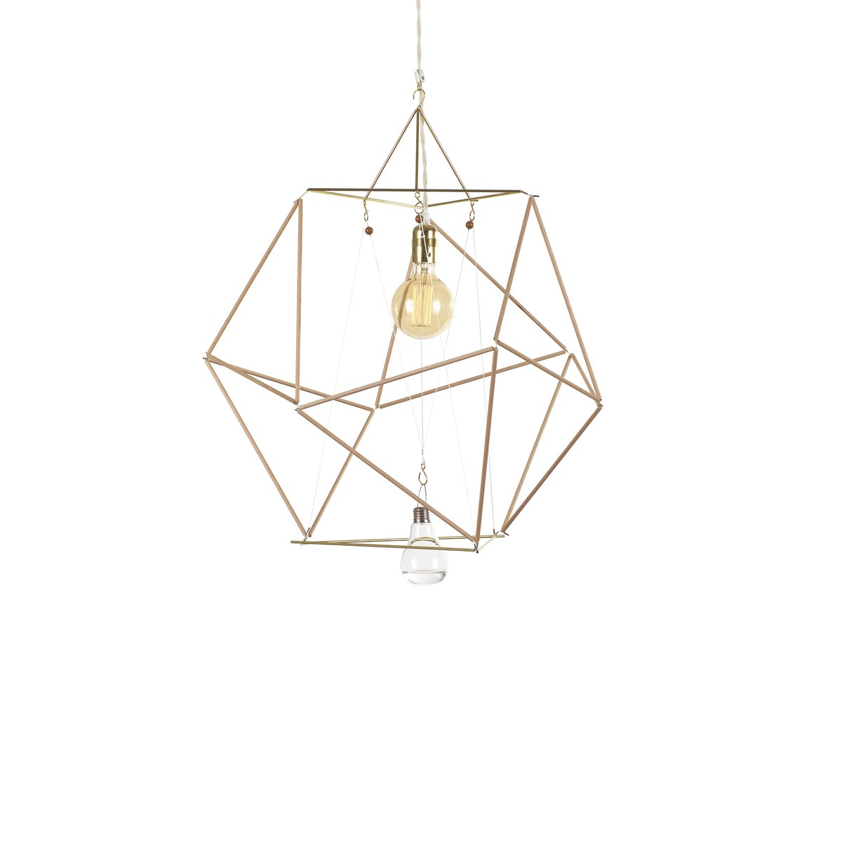 Modulare Vector Equilibrium Holzstab Lampe von Nicolas Brevers für Gob...