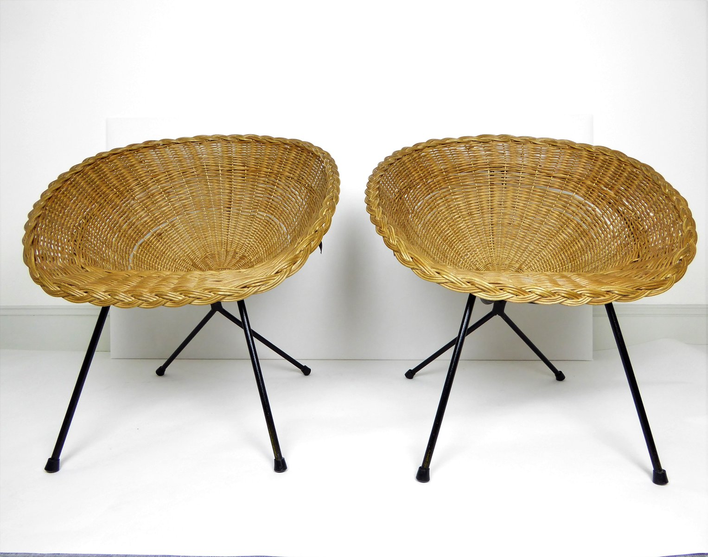 Rattan U0026 Black Metal Basket Chairs, 1950s, Set Of 2