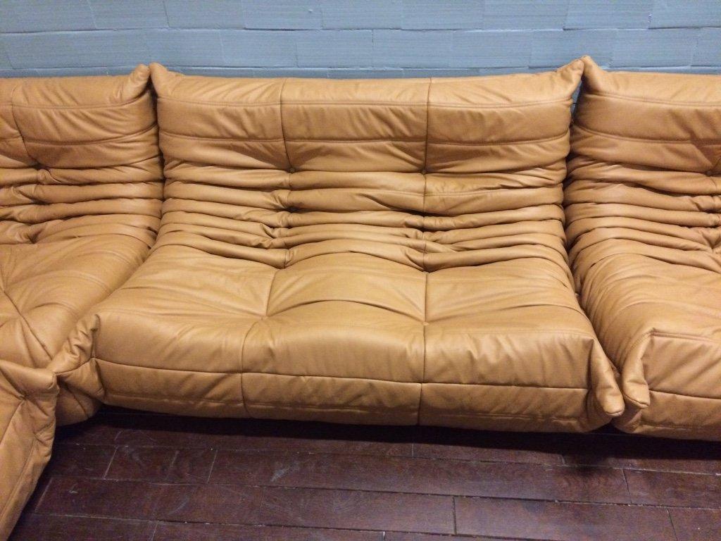 set de salon togo en cuir couleur tabac par michel ducaroy pour ligne roset en vente sur pamono. Black Bedroom Furniture Sets. Home Design Ideas